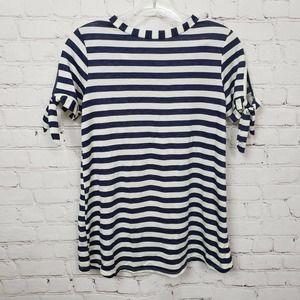 Agnes & Dora Tie Sleeved Stripe T-Shirt Blue White